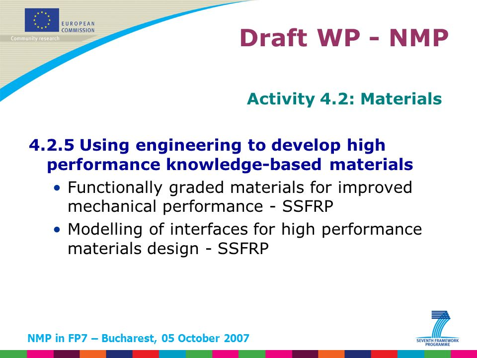 NMP in FP7 – Bucharest, 05 October 2007 Activity 4.2: Materials 4.2.5 Using engineering to develop high performance knowledge-based materials Functionally graded materials for improved mechanical performance - SSFRP Modelling of interfaces for high performance materials design - SSFRP Draft WP - NMP