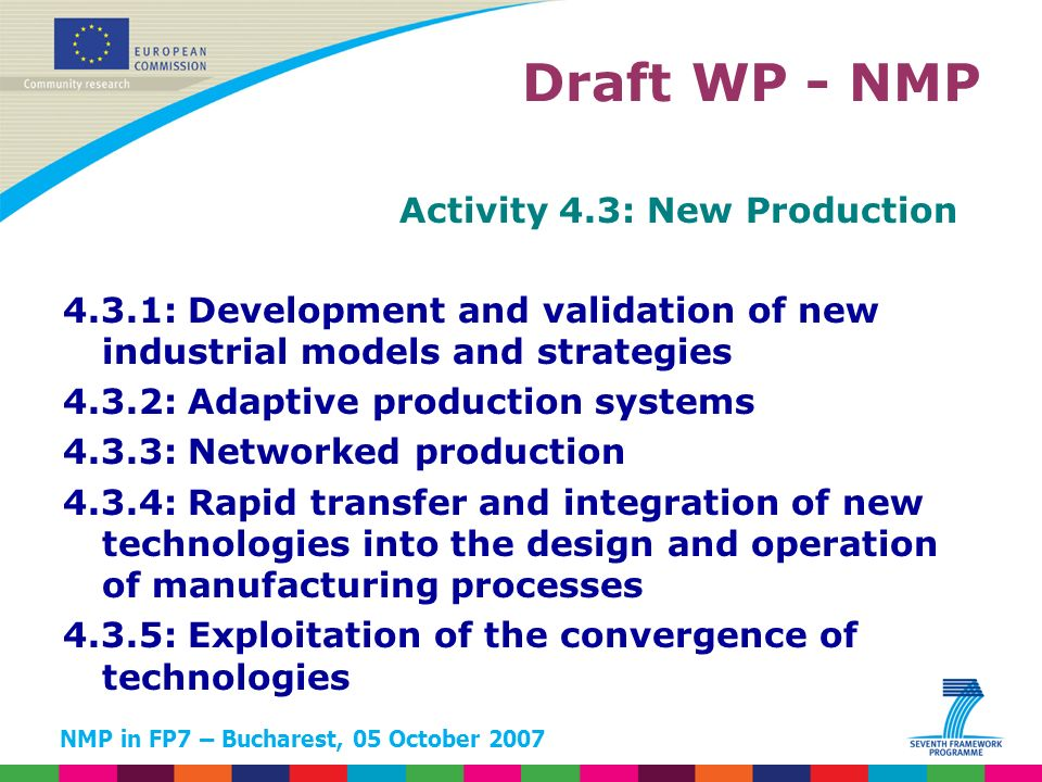NMP in FP7 – Bucharest, 05 October 2007 Activity 4.3: New Production 4.3.1: Development and validation of new industrial models and strategies 4.3.2: Adaptive production systems 4.3.3: Networked production 4.3.4: Rapid transfer and integration of new technologies into the design and operation of manufacturing processes 4.3.5: Exploitation of the convergence of technologies Draft WP - NMP