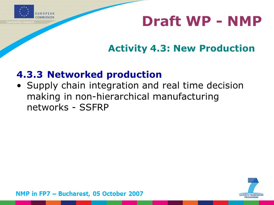 NMP in FP7 – Bucharest, 05 October 2007 Activity 4.3: New Production 4.3.3 Networked production Supply chain integration and real time decision making in non-hierarchical manufacturing networks - SSFRP Draft WP - NMP