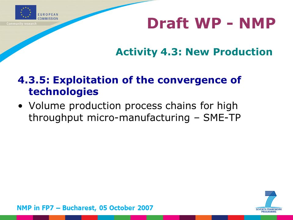 NMP in FP7 – Bucharest, 05 October 2007 Activity 4.3: New Production 4.3.5: Exploitation of the convergence of technologies Volume production process chains for high throughput micro-manufacturing – SME-TP Draft WP - NMP