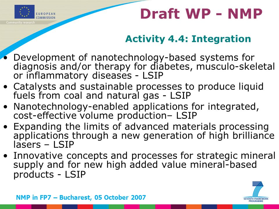 NMP in FP7 – Bucharest, 05 October 2007 Activity 4.4: Integration Development of nanotechnology-based systems for diagnosis and/or therapy for diabetes, musculo-skeletal or inflammatory diseases - LSIP Catalysts and sustainable processes to produce liquid fuels from coal and natural gas - LSIP Nanotechnology-enabled applications for integrated, cost-effective volume production– LSIP Expanding the limits of advanced materials processing applications through a new generation of high brilliance lasers – LSIP Innovative concepts and processes for strategic mineral supply and for new high added value mineral-based products - LSIP Draft WP - NMP