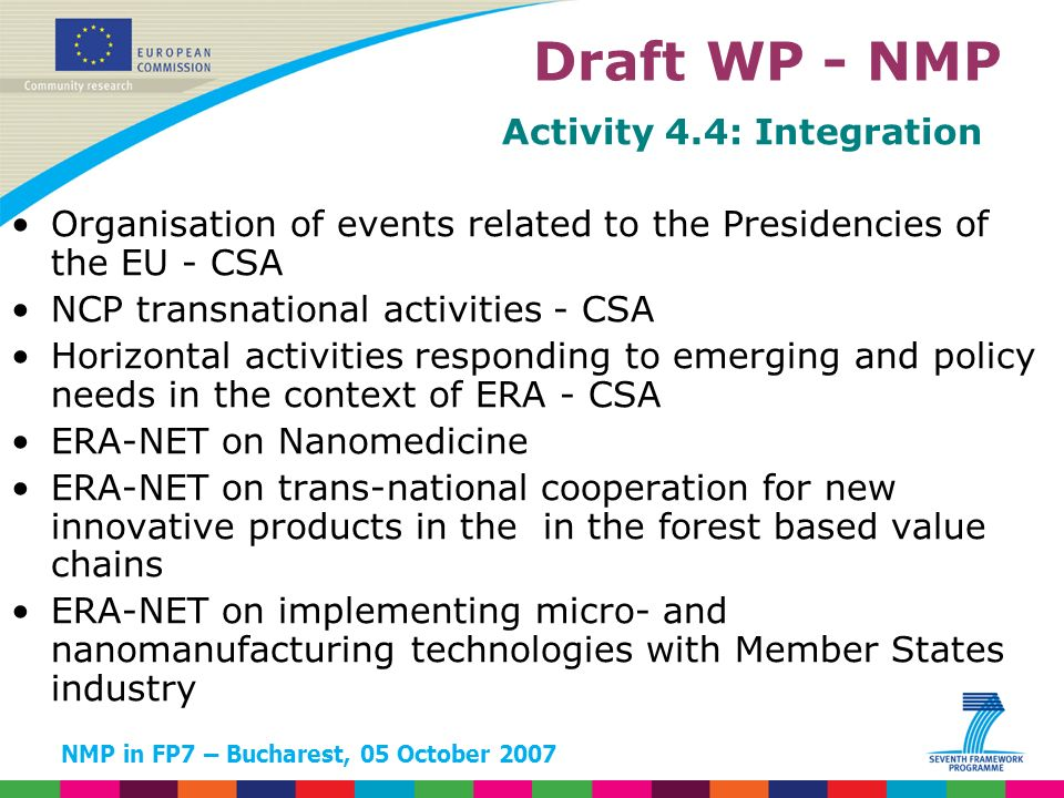 NMP in FP7 – Bucharest, 05 October 2007 Activity 4.4: Integration Organisation of events related to the Presidencies of the EU - CSA NCP transnational activities - CSA Horizontal activities responding to emerging and policy needs in the context of ERA - CSA ERA-NET on Nanomedicine ERA-NET on trans-national cooperation for new innovative products in the in the forest based value chains ERA-NET on implementing micro- and nanomanufacturing technologies with Member States industry Draft WP - NMP