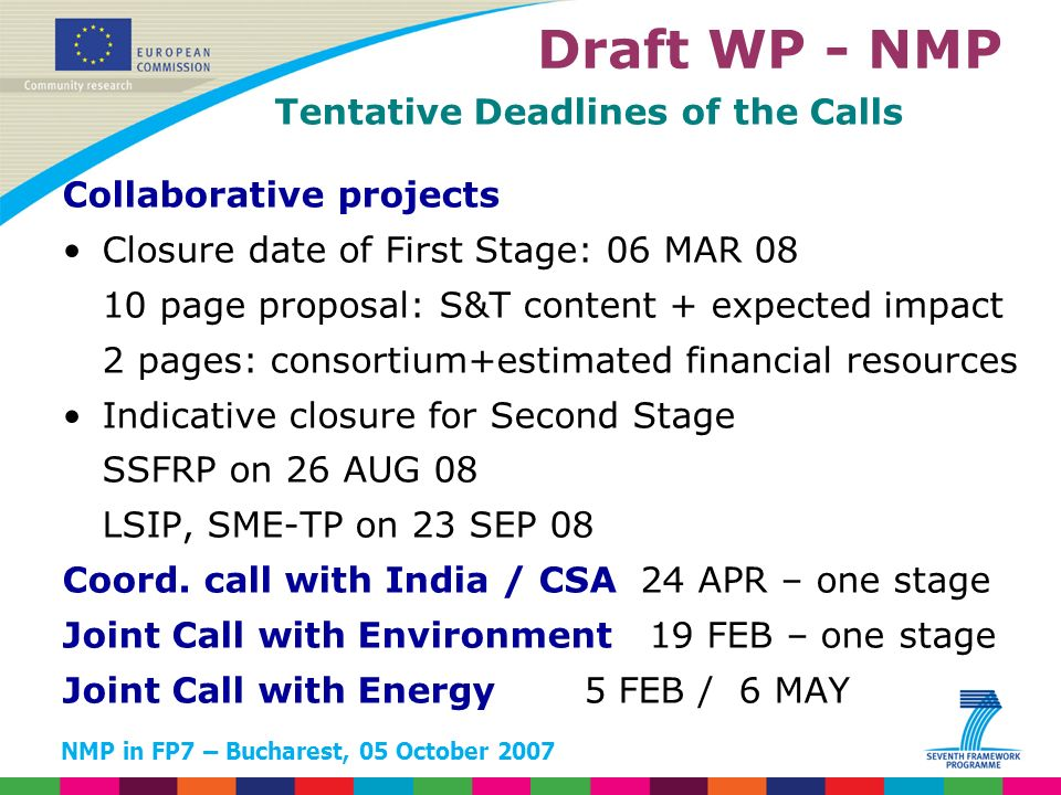 NMP in FP7 – Bucharest, 05 October 2007 Tentative Deadlines of the Calls Collaborative projects Closure date of First Stage: 06 MAR 08 10 page proposal: S&T content + expected impact 2 pages: consortium+estimated financial resources Indicative closure for Second Stage SSFRP on 26 AUG 08 LSIP, SME-TP on 23 SEP 08 Coord.