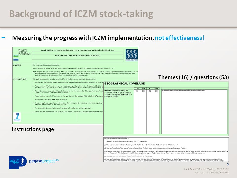 Background of ICZM stock-taking Measuring the progress with ICZM implementation, not effectiveness.