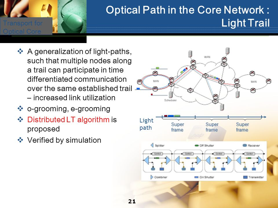Optical Path in the Core Network : Light Trail A generalization of light-paths, such that multiple nodes along a trail can participate in time differentiated communication over the same established trail – increased link utilization o-grooming, e-grooming Distributed LT algorithm is proposed Verified by simulation Light path Super frame Transport for Optical Core 21