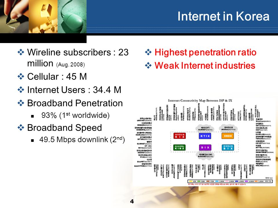 44 Internet in Korea Wireline subscribers : 23 million (Aug.