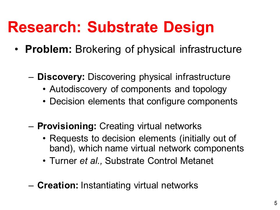 5 Research: Substrate Design Problem: Brokering of physical infrastructure –Discovery: Discovering physical infrastructure Autodiscovery of components and topology Decision elements that configure components –Provisioning: Creating virtual networks Requests to decision elements (initially out of band), which name virtual network components Turner et al., Substrate Control Metanet –Creation: Instantiating virtual networks