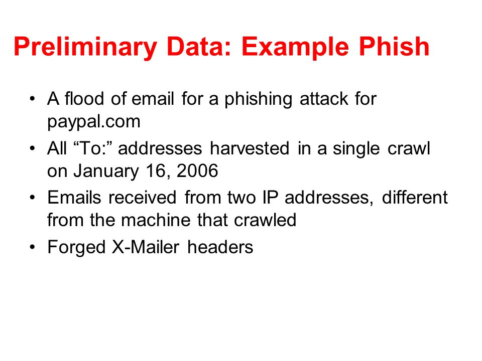 Preliminary Data: Example Phish A flood of email for a phishing attack for paypal.com All To: addresses harvested in a single crawl on January 16, 2006 Emails received from two IP addresses, different from the machine that crawled Forged X-Mailer headers