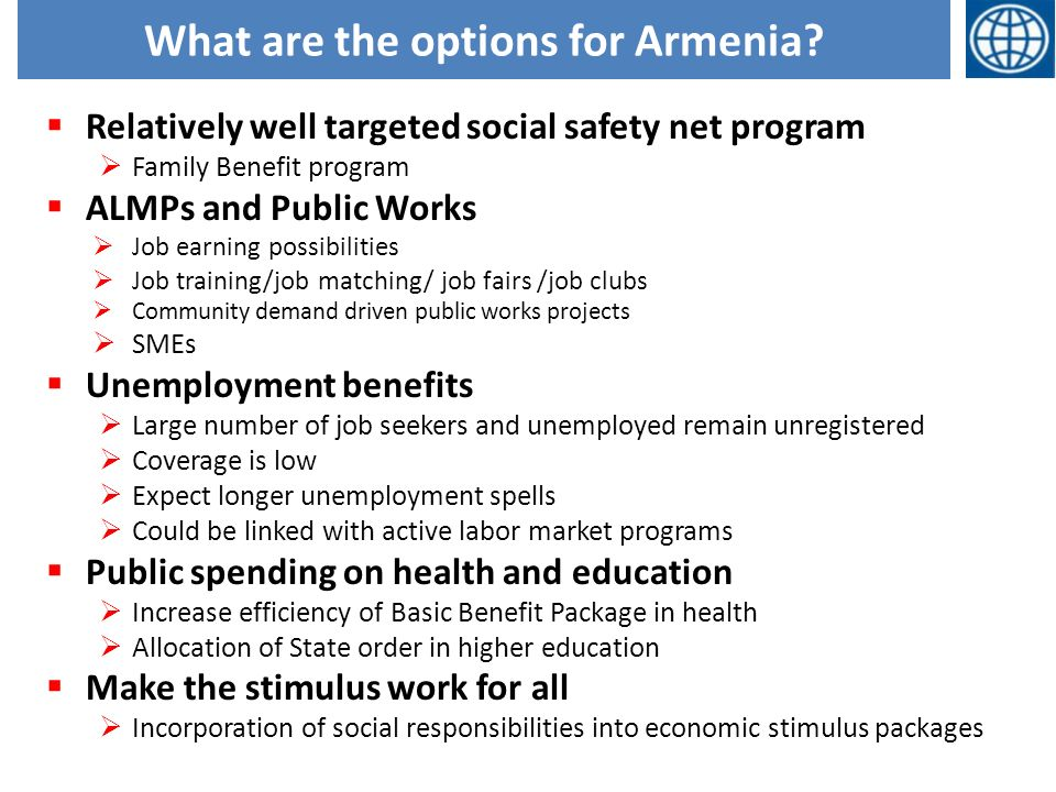 What are the options for Armenia.