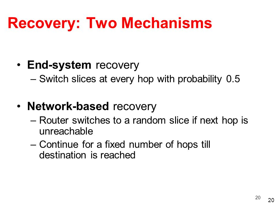 20 Recovery: Two Mechanisms End-system recovery –Switch slices at every hop with probability 0.5 Network-based recovery –Router switches to a random slice if next hop is unreachable –Continue for a fixed number of hops till destination is reached 20