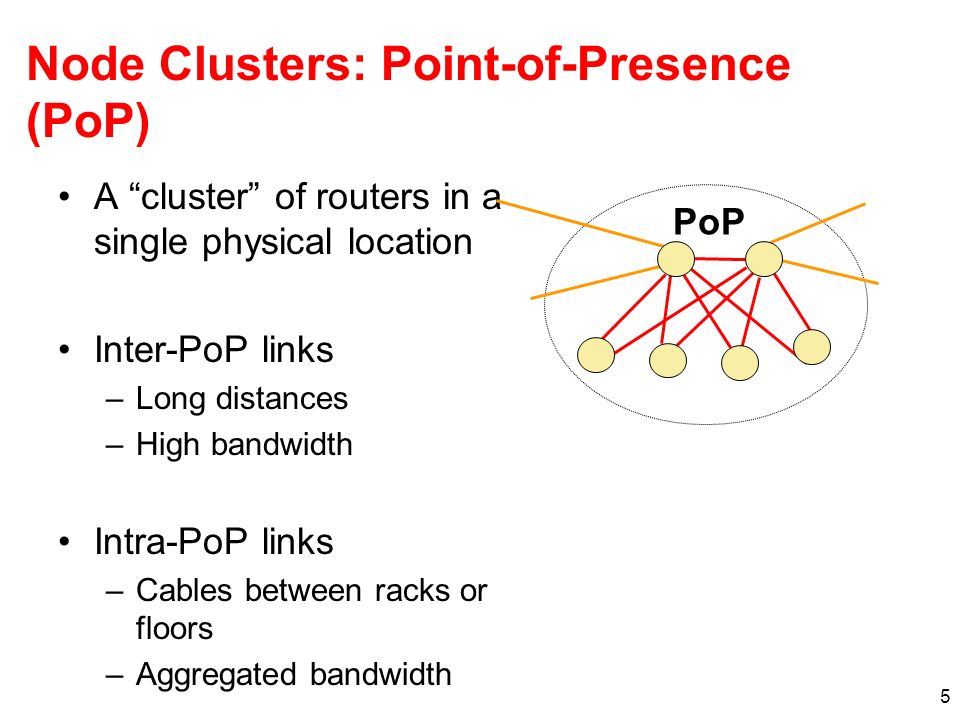 5 Node Clusters: Point-of-Presence (PoP) A cluster of routers in a single physical location Inter-PoP links –Long distances –High bandwidth Intra-PoP links –Cables between racks or floors –Aggregated bandwidth PoP