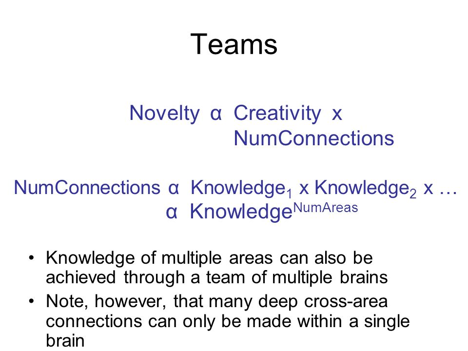 Teams Knowledge of multiple areas can also be achieved through a team of multiple brains Note, however, that many deep cross-area connections can only be made within a single brain Novelty α Creativity x NumConnections NumConnections α Knowledge 1 x Knowledge 2 x … α Knowledge NumAreas