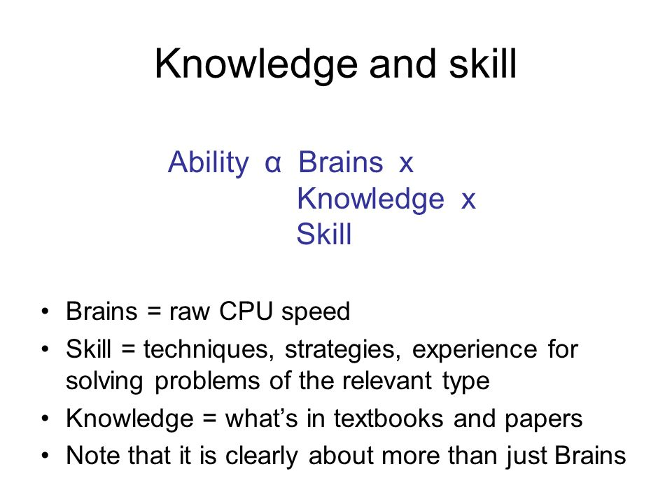 Knowledge and skill Brains = raw CPU speed Skill = techniques, strategies, experience for solving problems of the relevant type Knowledge = whats in textbooks and papers Note that it is clearly about more than just Brains Ability α Brains x Knowledge x Skill
