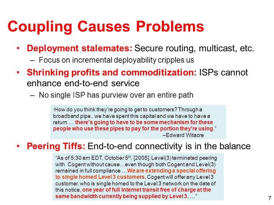 7 Coupling Causes Problems Deployment stalemates: Secure routing, multicast, etc.
