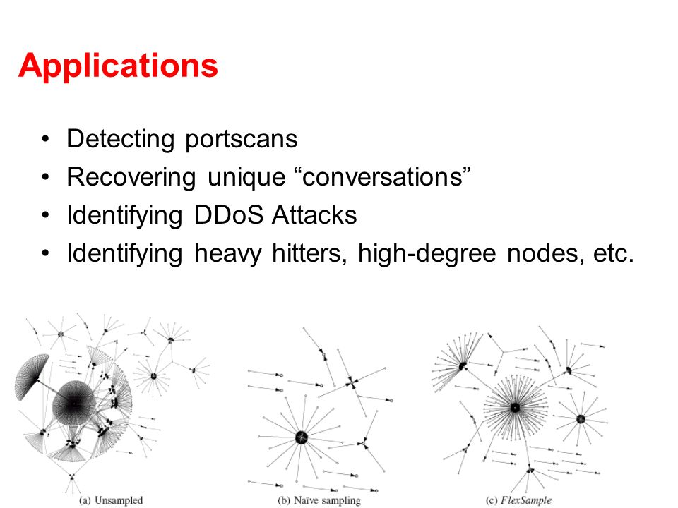Applications Detecting portscans Recovering unique conversations Identifying DDoS Attacks Identifying heavy hitters, high-degree nodes, etc.