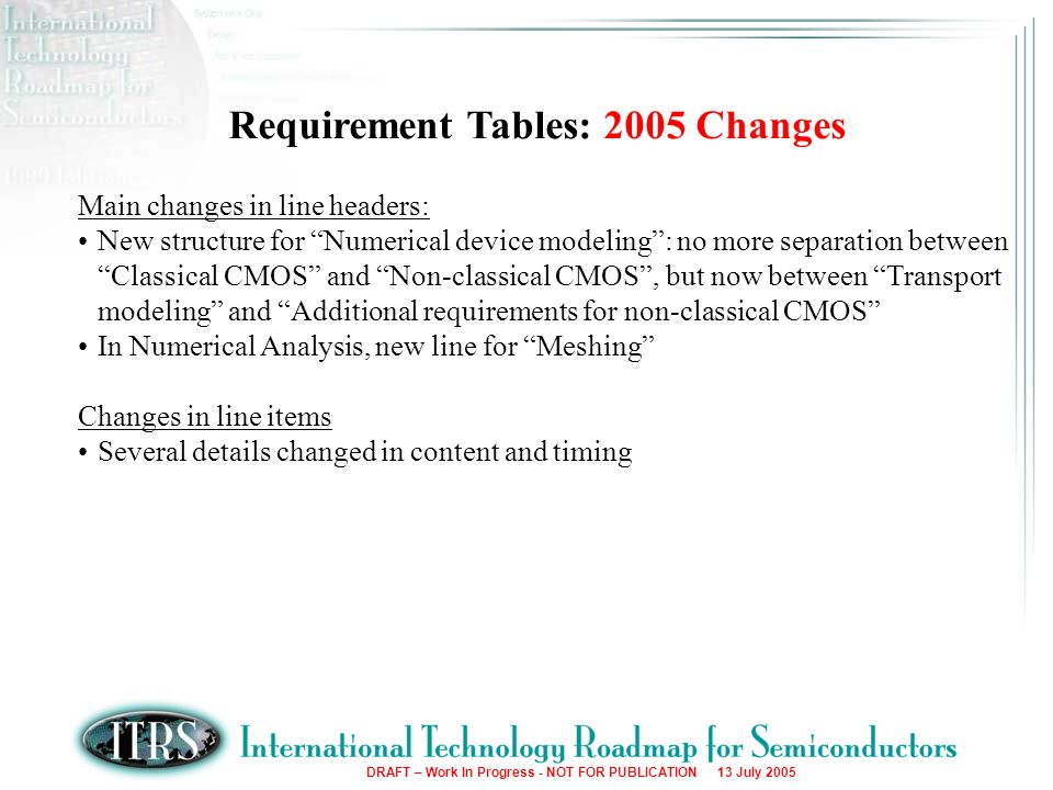 DRAFT – Work In Progress - NOT FOR PUBLICATION 13 July 2005 Requirement Tables: 2005 Changes Main changes in line headers: New structure for Numerical device modeling: no more separation between Classical CMOS and Non-classical CMOS, but now between Transport modeling and Additional requirements for non-classical CMOS In Numerical Analysis, new line for Meshing Changes in line items Several details changed in content and timing