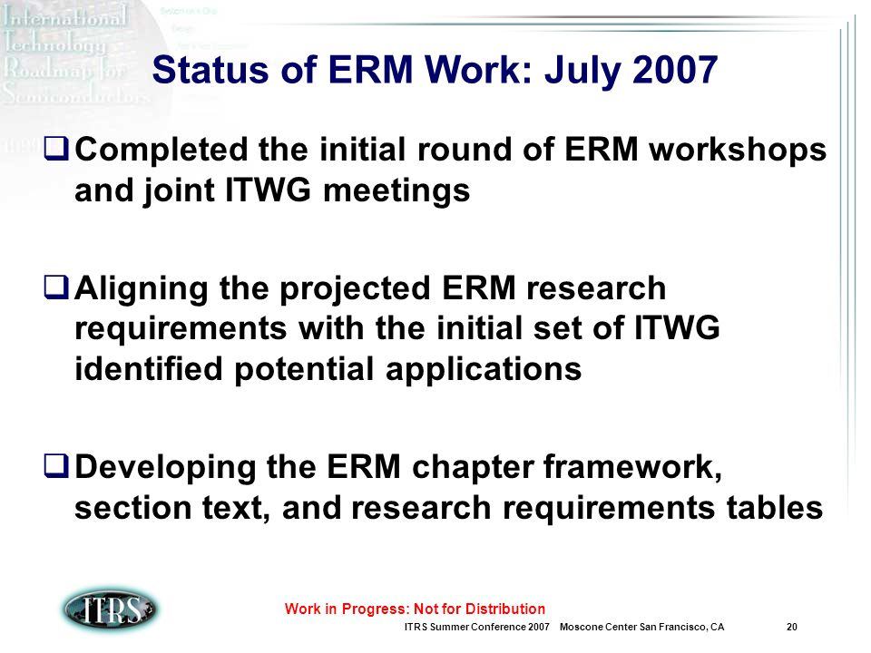 ITRS Summer Conference 2007 Moscone Center San Francisco, CA 20 Work in Progress: Not for Distribution Status of ERM Work: July 2007 Completed the initial round of ERM workshops and joint ITWG meetings Aligning the projected ERM research requirements with the initial set of ITWG identified potential applications Developing the ERM chapter framework, section text, and research requirements tables