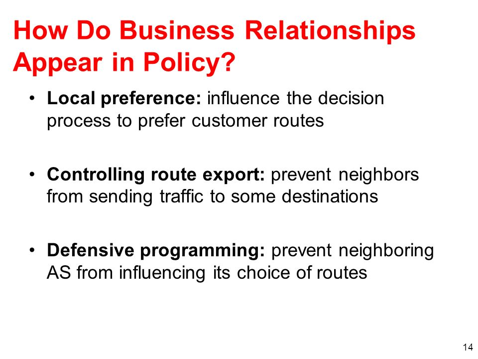 How Do Business Relationships Appear in Policy.