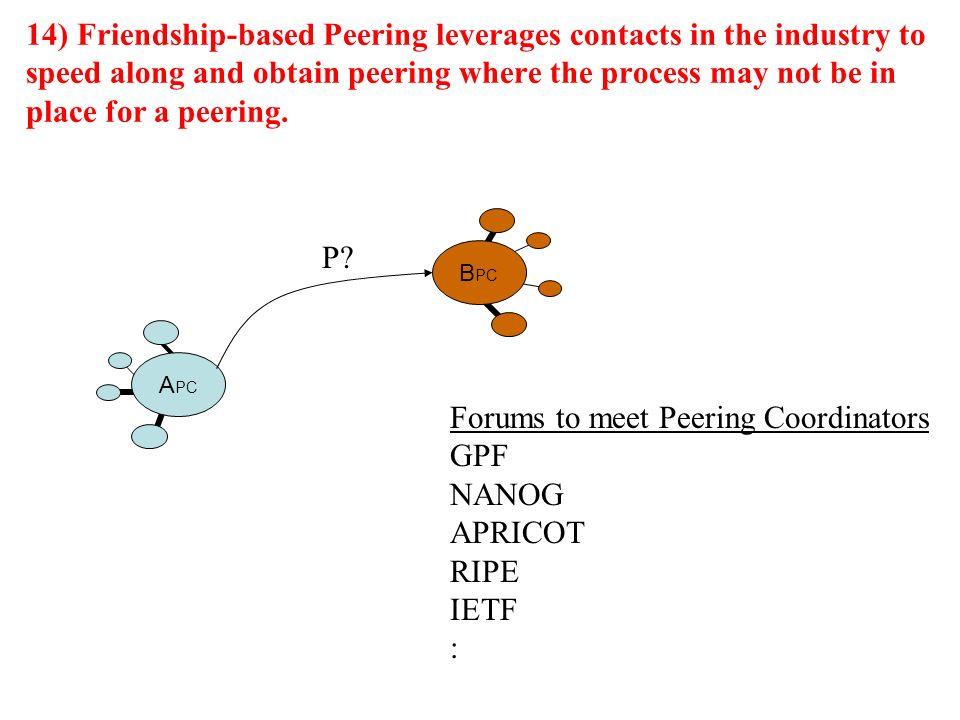 14) Friendship-based Peering leverages contacts in the industry to speed along and obtain peering where the process may not be in place for a peering.