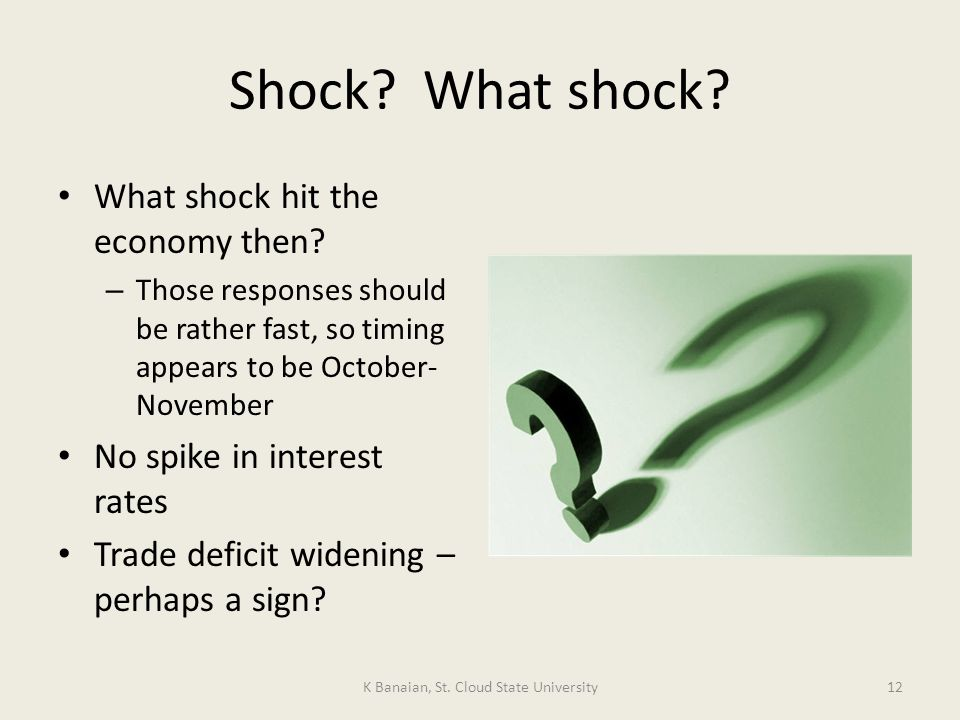 Shock. What shock. What shock hit the economy then.