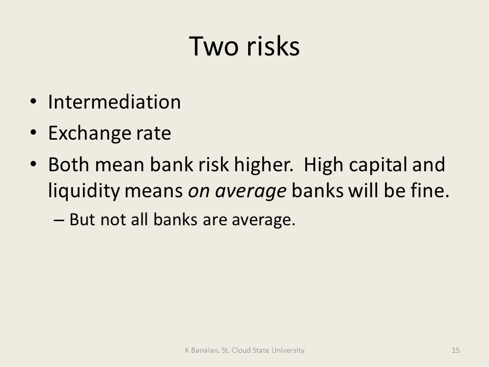 Two risks Intermediation Exchange rate Both mean bank risk higher.