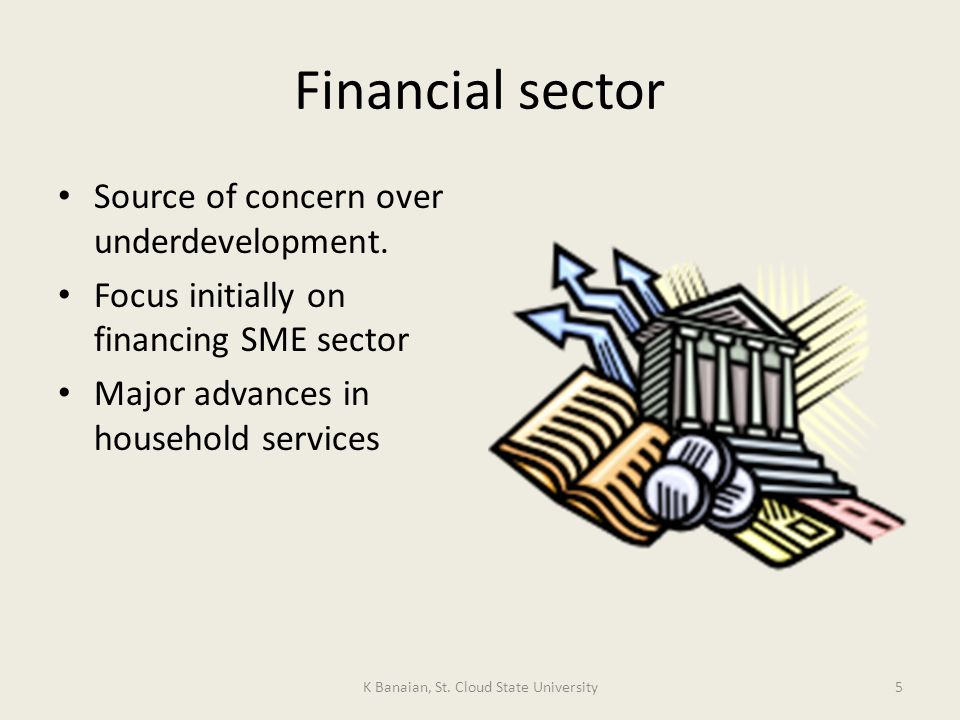 Financial sector Source of concern over underdevelopment.