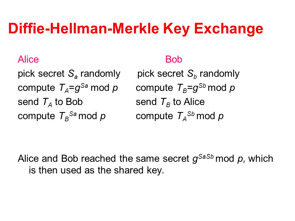 Diffie-Hellman-Merkle Key Exchange AliceBob pick secret S a randomly pick secret S b randomly compute T A =g Sa mod pcompute T B =g Sb mod p send T A to Bobsend T B to Alice compute T B Sa mod pcompute T A Sb mod p Alice and Bob reached the same secret g SaSb mod p, which is then used as the shared key.