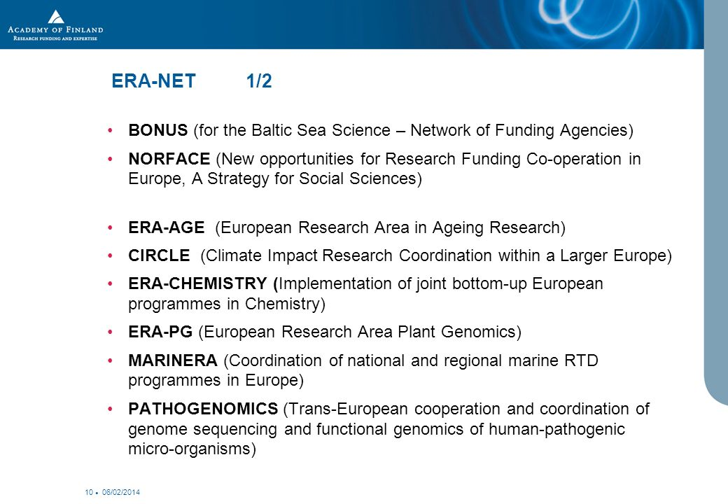 06/02/ ERA-NET 1/2 BONUS (for the Baltic Sea Science – Network of Funding Agencies) NORFACE (New opportunities for Research Funding Co-operation in Europe, A Strategy for Social Sciences) ERA-AGE (European Research Area in Ageing Research) CIRCLE (Climate Impact Research Coordination within a Larger Europe) ERA-CHEMISTRY (Implementation of joint bottom-up European programmes in Chemistry) ERA-PG (European Research Area Plant Genomics) MARINERA (Coordination of national and regional marine RTD programmes in Europe) PATHOGENOMICS (Trans-European cooperation and coordination of genome sequencing and functional genomics of human-pathogenic micro-organisms)