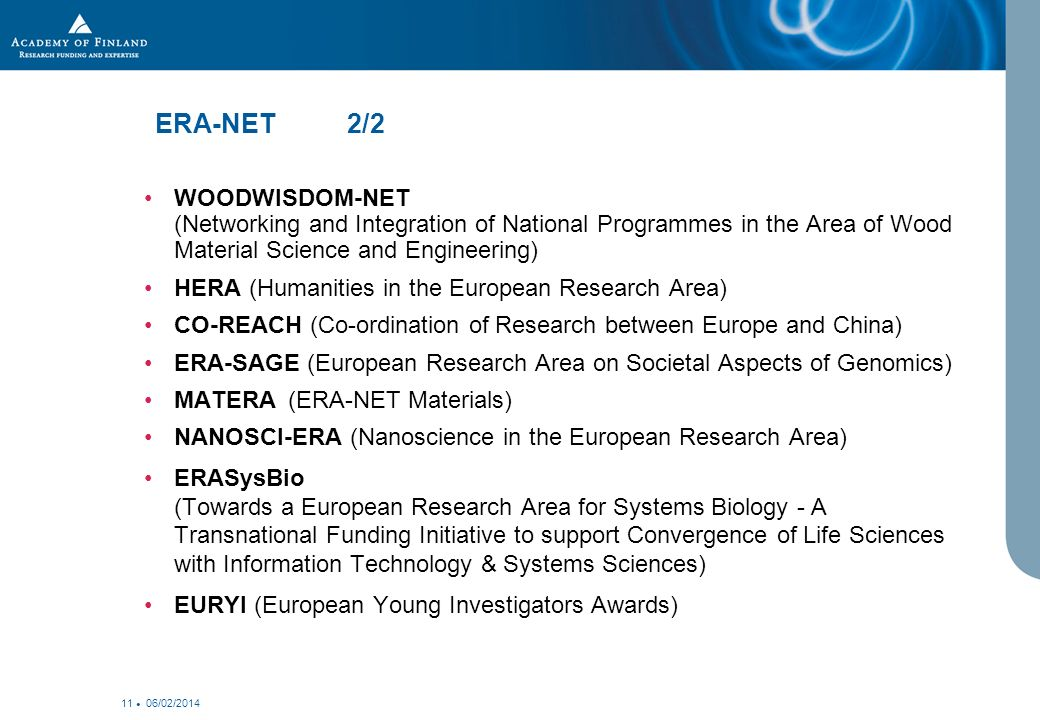 06/02/ ERA-NET 2/2 WOODWISDOM-NET (Networking and Integration of National Programmes in the Area of Wood Material Science and Engineering) HERA (Humanities in the European Research Area) CO-REACH (Co-ordination of Research between Europe and China) ERA-SAGE (European Research Area on Societal Aspects of Genomics) MATERA (ERA-NET Materials) NANOSCI-ERA (Nanoscience in the European Research Area) ERASysBio (Towards a European Research Area for Systems Biology - A Transnational Funding Initiative to support Convergence of Life Sciences with Information Technology & Systems Sciences) EURYI (European Young Investigators Awards)