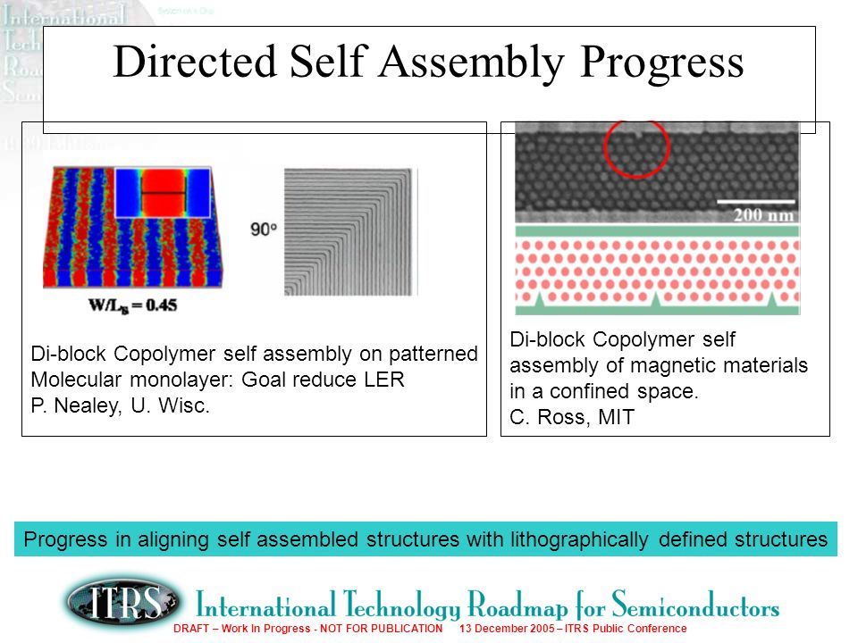 DRAFT – Work In Progress - NOT FOR PUBLICATION 13 December 2005 – ITRS Public Conference Directed Self Assembly Progress Di-block Copolymer self assembly on patterned Molecular monolayer: Goal reduce LER P.