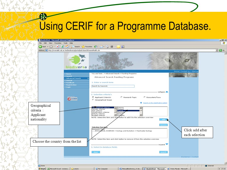 Using CERIF for a Programme Database.