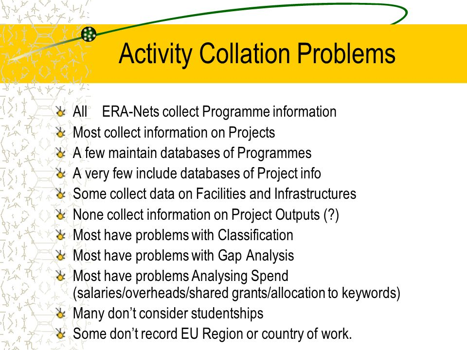 Activity Collation Problems All ERA-Nets collect Programme information Most collect information on Projects A few maintain databases of Programmes A very few include databases of Project info Some collect data on Facilities and Infrastructures None collect information on Project Outputs ( ) Most have problems with Classification Most have problems with Gap Analysis Most have problems Analysing Spend (salaries/overheads/shared grants/allocation to keywords) Many dont consider studentships Some dont record EU Region or country of work.