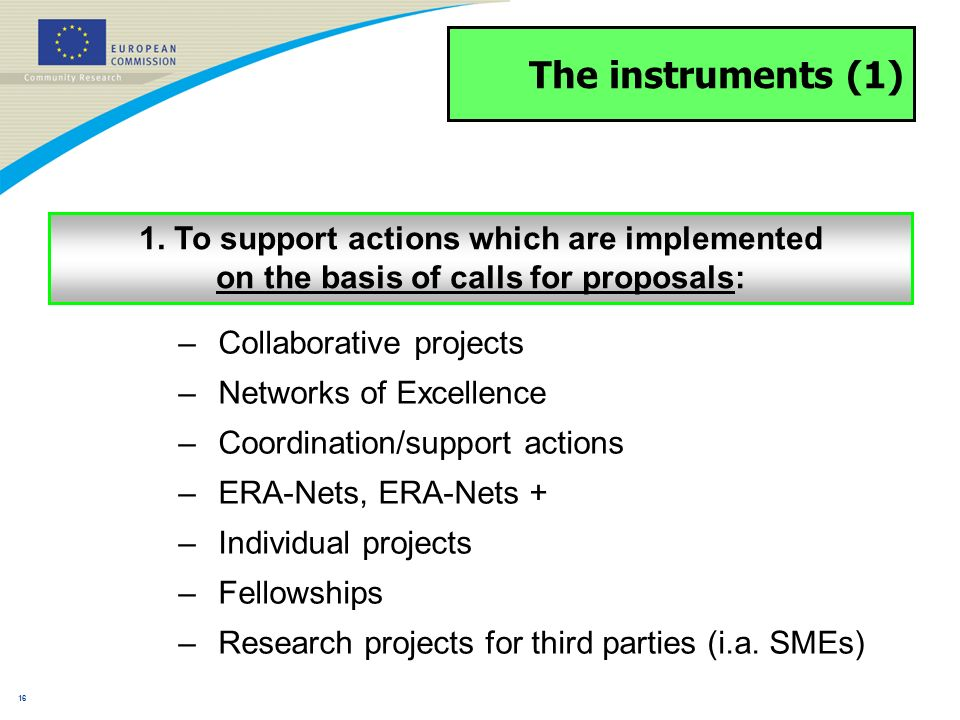 15 Coordination of non-Community research programmes –ERA-NET –ERA-NET PLUS –Article 169 –May cover subjects beyond the nine themes Coordination of national and regional programmes – actions will use the tools: Coordination with European programmes – Addresses principally intergovernmental structures such as EUREKA, COST, etc