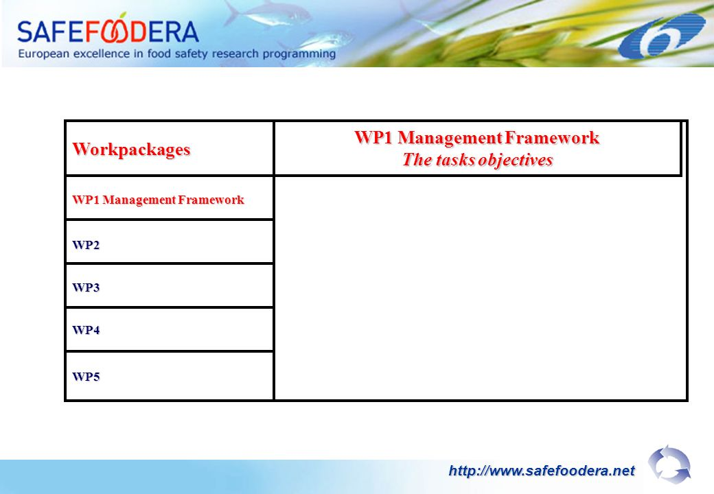 Workpackages WP1 Management Framework The tasks objectives WP2 WP3 WP4 WP5 http://www.safefoodera.net
