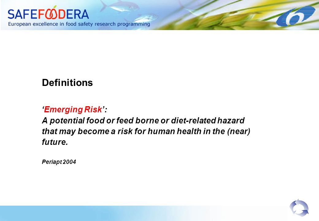 Definitions Emerging Risk: A potential food or feed borne or diet-related hazard that may become a risk for human health in the (near) future.