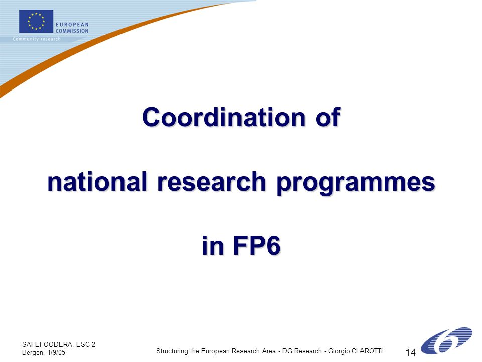 SAFEFOODERA, ESC 2 Bergen, 1/9/05 Structuring the European Research Area - DG Research - Giorgio CLAROTTI 14 Coordination of national research programmes in FP6
