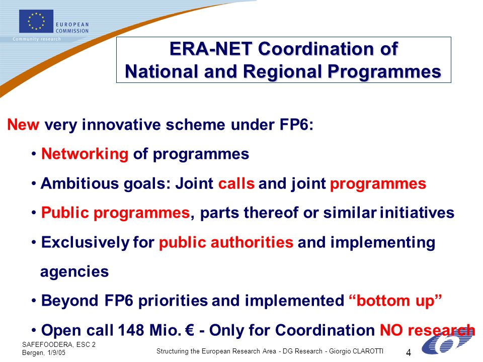 SAFEFOODERA, ESC 2 Bergen, 1/9/05 Structuring the European Research Area - DG Research - Giorgio CLAROTTI 4 ERA-NET Coordination of National and Regional Programmes New very innovative scheme under FP6: Networking of programmes Ambitious goals: Joint calls and joint programmes Public programmes, parts thereof or similar initiatives Exclusively for public authorities and implementing agencies Beyond FP6 priorities and implemented bottom up Open call 148 Mio.