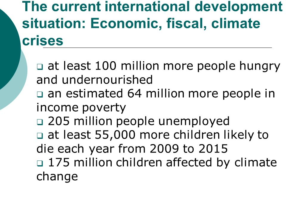 The current international development situation: Economic, fiscal, climate crises at least 100 million more people hungry and undernourished an estimated 64 million more people in income poverty 205 million people unemployed at least 55,000 more children likely to die each year from 2009 to 2015 175 million children affected by climate change