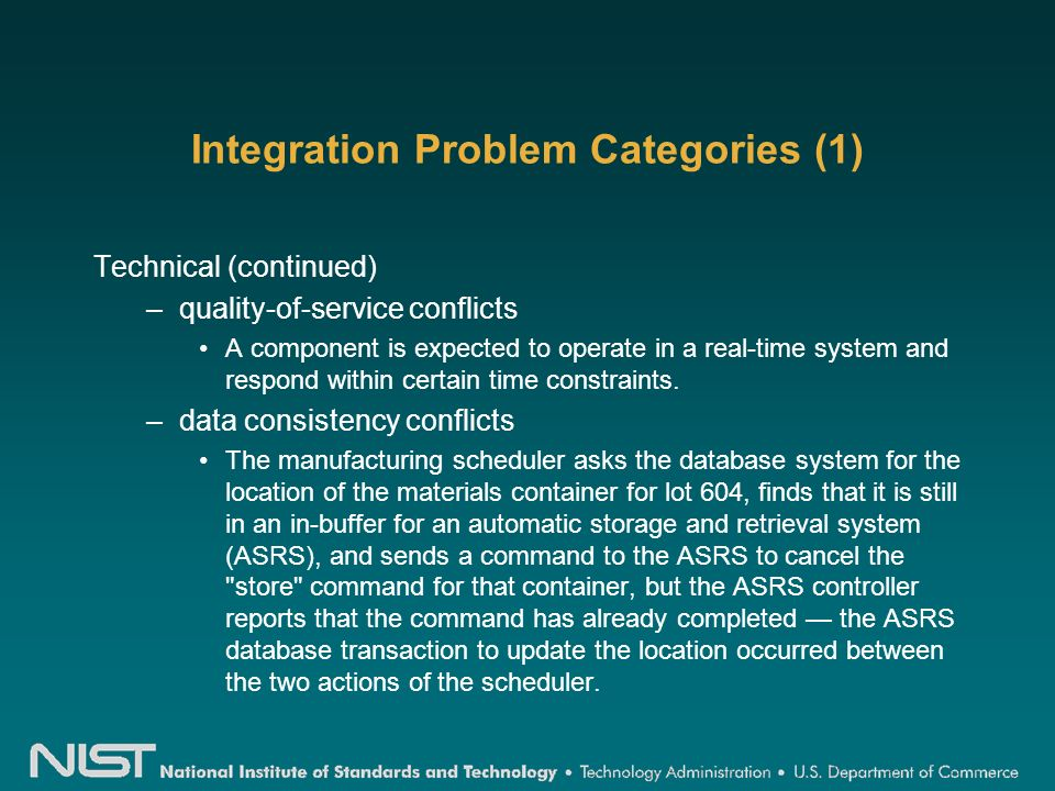 Integration Problem Categories (1) Technical (continued) –quality-of-service conflicts A component is expected to operate in a real-time system and respond within certain time constraints.