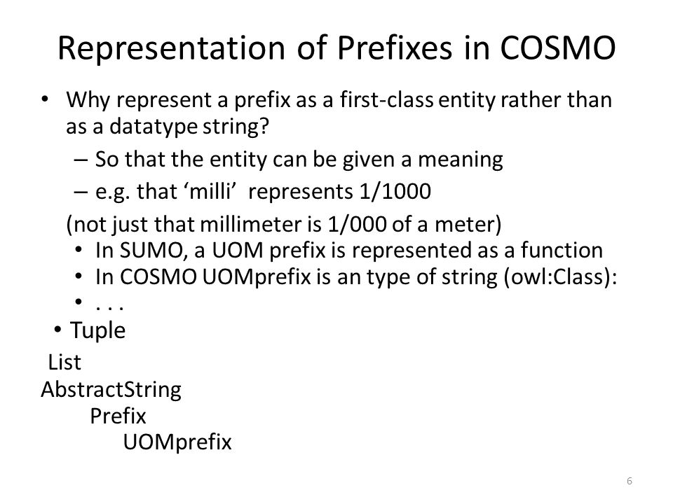 6 Representation of Prefixes in COSMO Why represent a prefix as a first-class entity rather than as a datatype string.