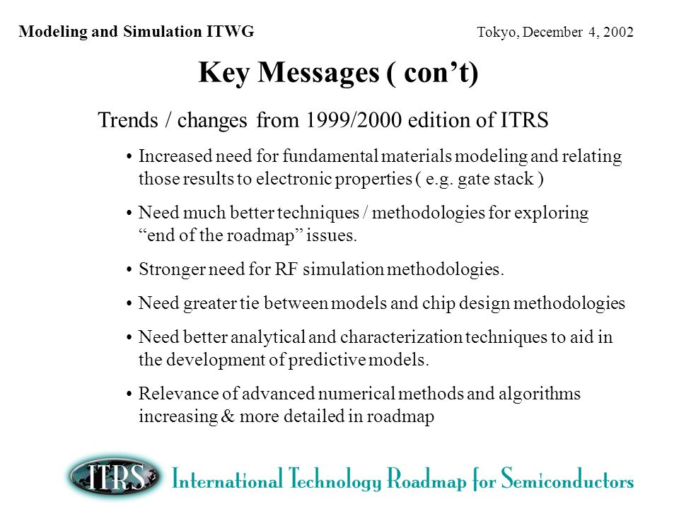 Modeling and Simulation ITWG Tokyo, December 4, 2002 Trends / changes from 1999/2000 edition of ITRS Increased need for fundamental materials modeling and relating those results to electronic properties ( e.g.