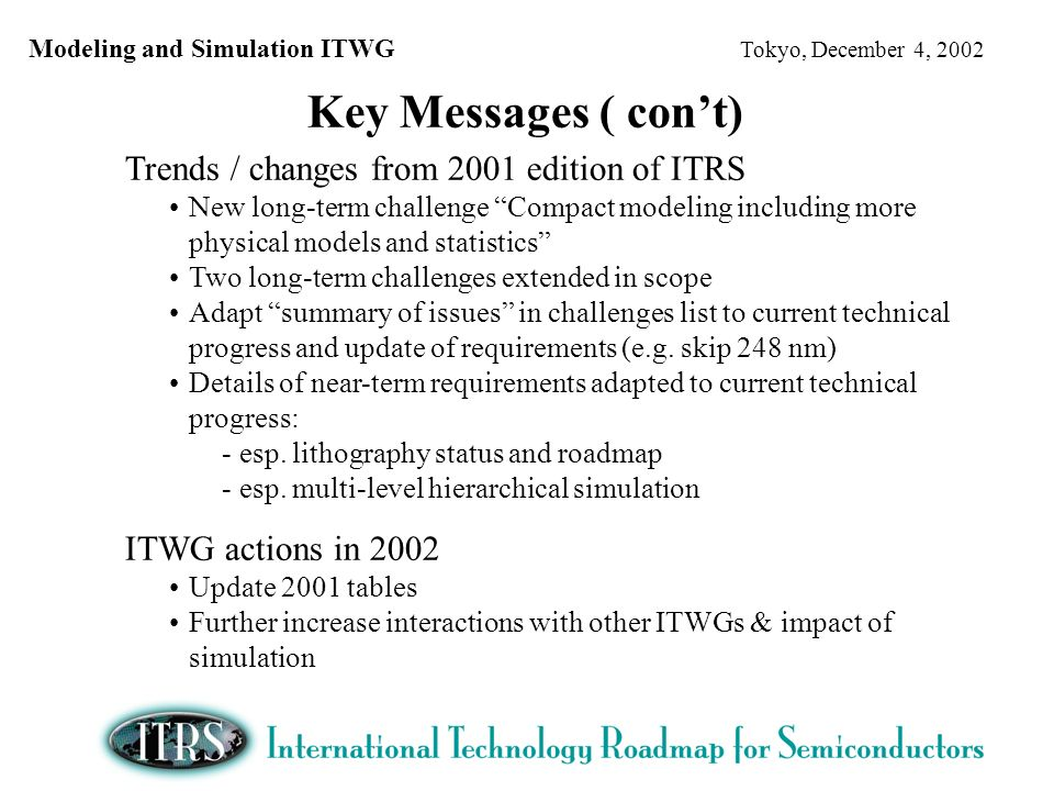 Modeling and Simulation ITWG Tokyo, December 4, 2002 Trends / changes from 2001 edition of ITRS New long-term challenge Compact modeling including more physical models and statistics Two long-term challenges extended in scope Adapt summary of issues in challenges list to current technical progress and update of requirements (e.g.