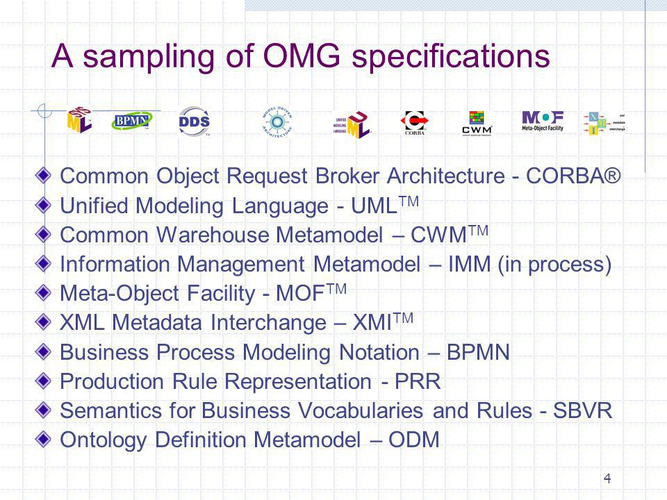 4 A sampling of OMG specifications Common Object Request Broker Architecture - CORBA® Unified Modeling Language - UML TM Common Warehouse Metamodel – CWM TM Information Management Metamodel – IMM (in process) Meta-Object Facility - MOF TM XML Metadata Interchange – XMI TM Business Process Modeling Notation – BPMN Production Rule Representation - PRR Semantics for Business Vocabularies and Rules - SBVR Ontology Definition Metamodel – ODM