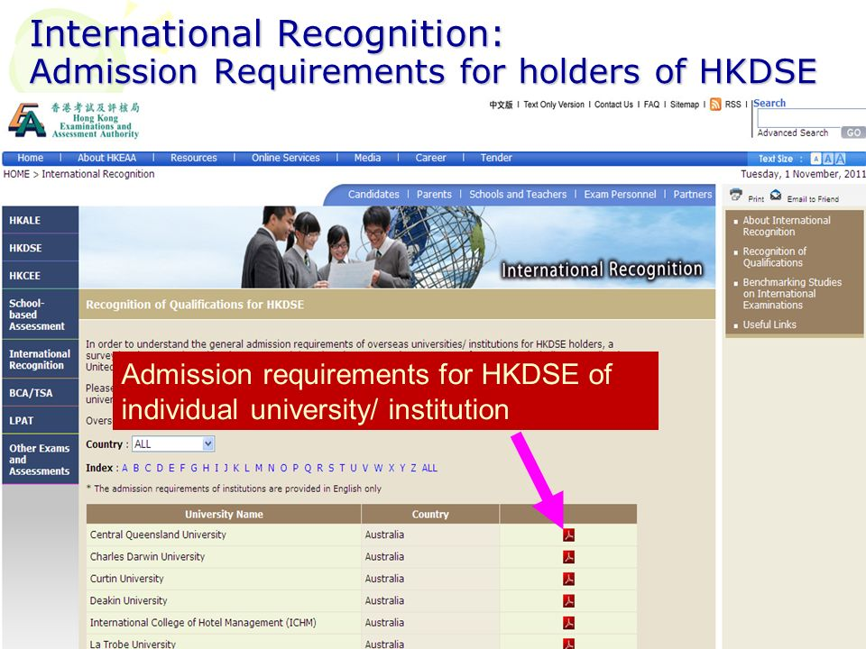 International Recognition: Admission Requirements for holders of HKDSE Admission requirements for HKDSE of individual university/ institution