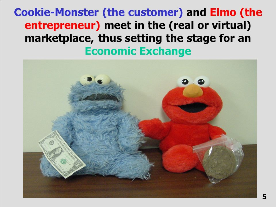 Cookie-Monster (the customer) and Elmo (the entrepreneur) meet in the (real or virtual) marketplace, thus setting the stage for an Economic Exchange 5