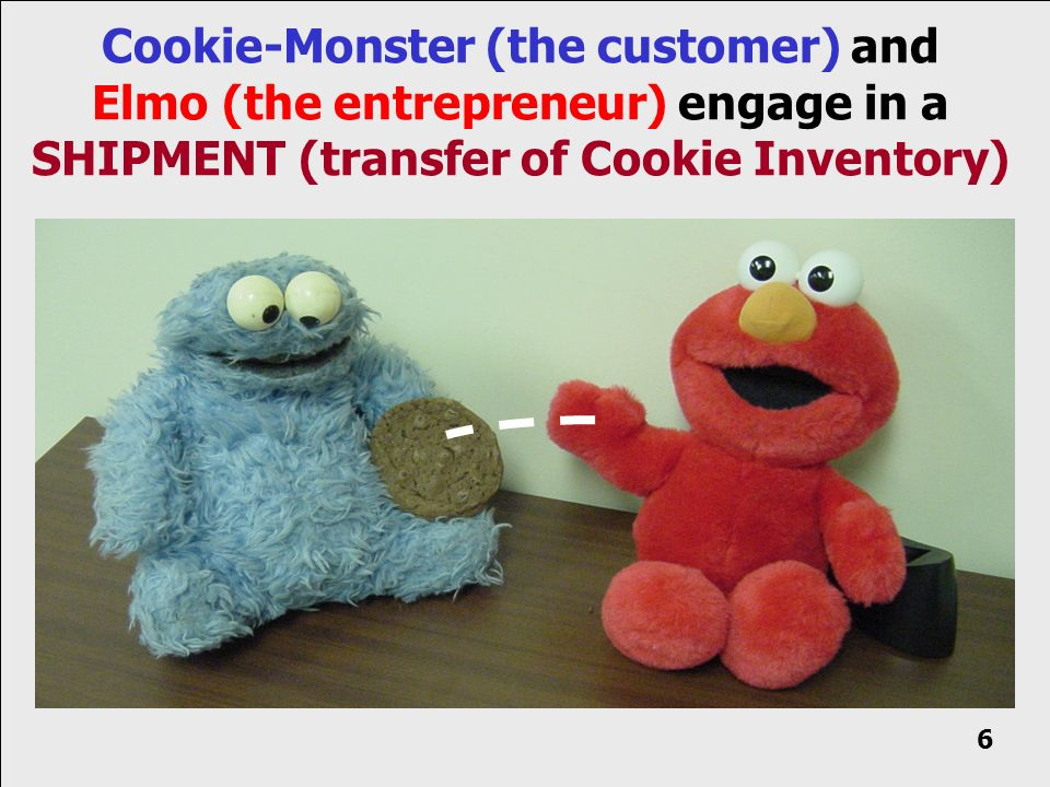 Cookie-Monster (the customer) and Elmo (the entrepreneur) engage in a SHIPMENT (transfer of Cookie Inventory) 6