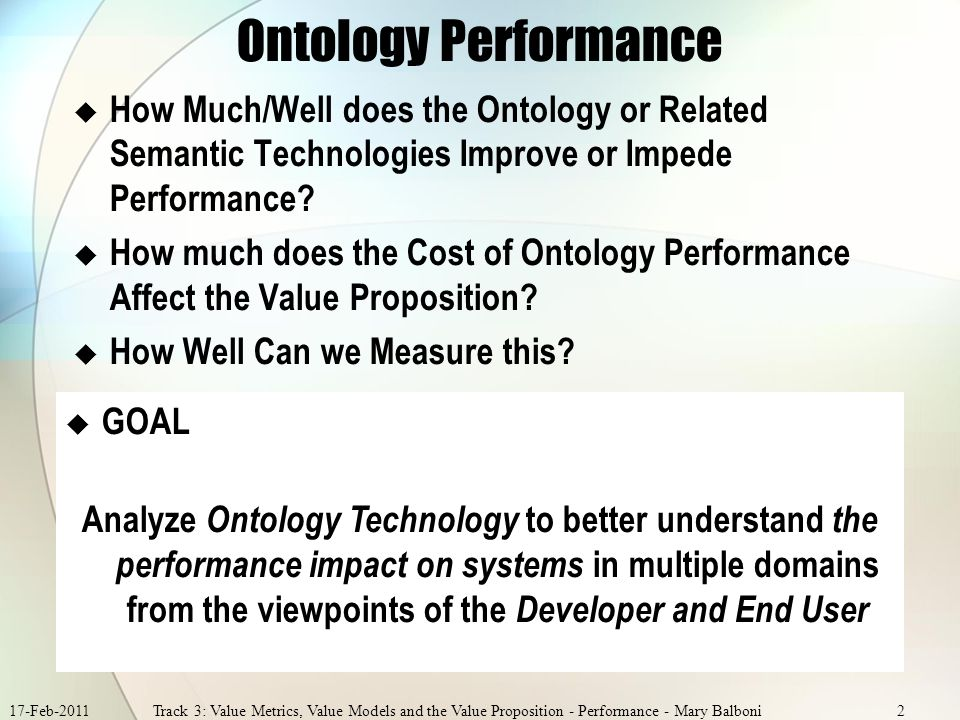 17-Feb-2011Track 3: Value Metrics, Value Models and the Value Proposition - Performance - Mary Balboni2 Ontology Performance How Much/Well does the Ontology or Related Semantic Technologies Improve or Impede Performance.