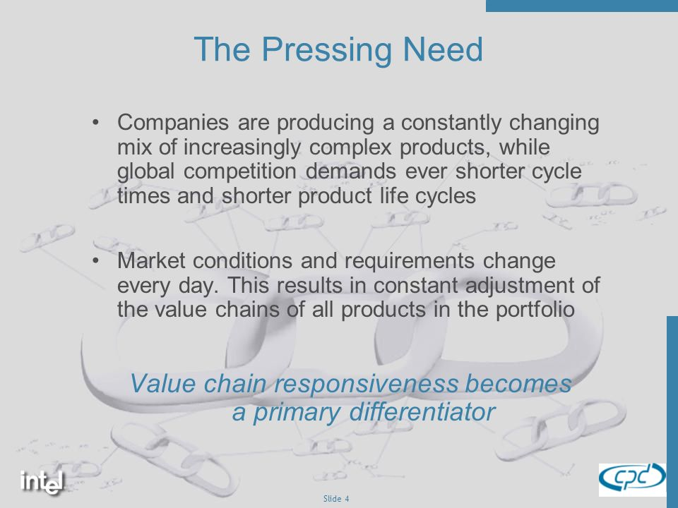 Slide 4 The Pressing Need Companies are producing a constantly changing mix of increasingly complex products, while global competition demands ever shorter cycle times and shorter product life cycles Market conditions and requirements change every day.