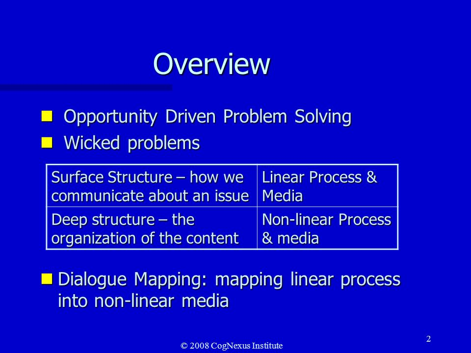 © 2008 CogNexus Institute 2 Overview n Opportunity Driven Problem Solving n Wicked problems nDialogue Mapping: mapping linear process into non-linear media Surface Structure – how we communicate about an issue Linear Process & Media Deep structure – the organization of the content Non-linear Process & media
