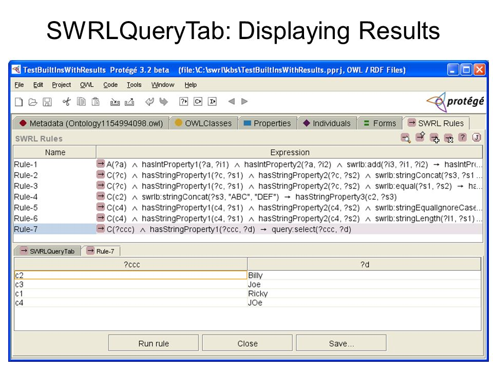 SWRLQueryTab: Displaying Results